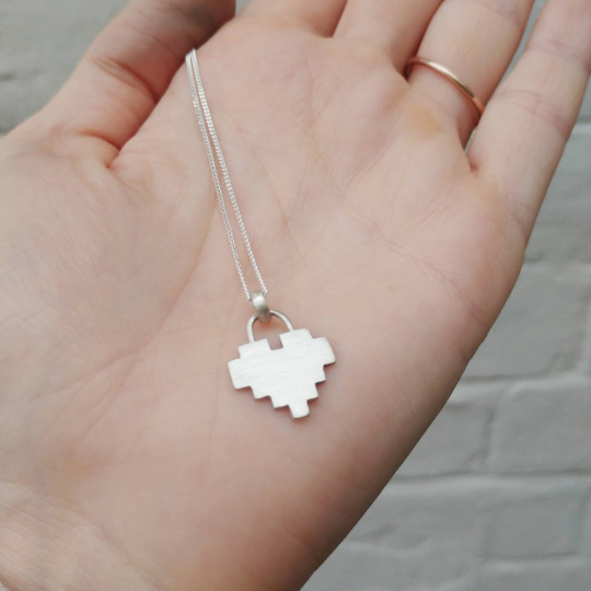 sterling silver 8 bit heart necklace